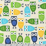 Urban Zoologie Owl Blue Fabric
