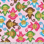 Urban Zoologie Monkeys Pink Fabric