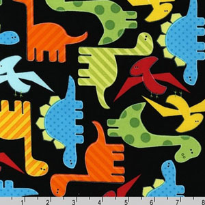 Urban Zoologie Dinosaurs Bright Fabric