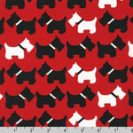 Urban Zoologie Dogs Red Fabric