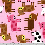 Urban Zoologie Cows Pink Fabric