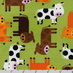 Urban Zoologie Cows Green Fabric