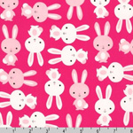 Urban Zoologie Bunnies Hot Pink  Fabric
