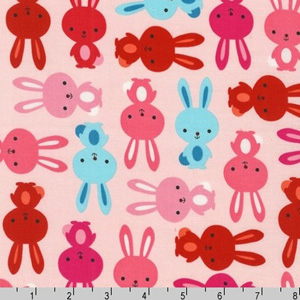 Urban Zoologie Bunnies Blush Pink  Fabric