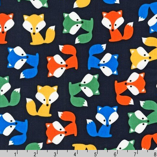 Urban Zoologie Fox Pups Navy Blue Park Fabric