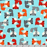 Urban Zoologie Fox Pups Sky Blue Fabric