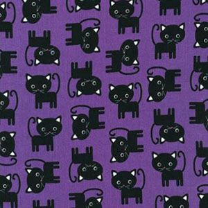 Urban Zoologie Black Cat Purple Fabric