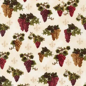 Vineyard Grape Cluster Ivory Fabric