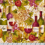 Vineyard Collection Wine Bottles Merlot Fabric