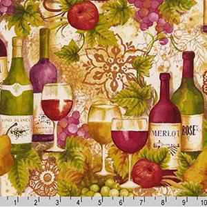 Vineyard Collection Wine Bottles Merlot Fabric