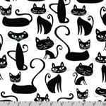Whiskers and Tails Retro 60s Cat Black Fabric