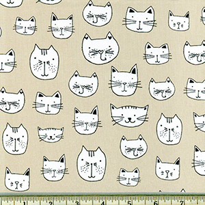 Whiskers and Tails Cat Natural Fabric