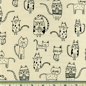 Whiskers and Tails Cats with Coffee Natural Fabric