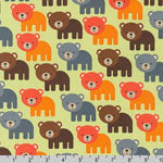 Woodland Pals Bear Bermuda Green Fabric