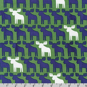 Woodland Pals Moose Navy Blue White Green Fabric