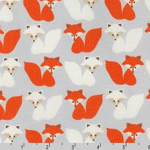 Woodland Pals Fox Orange Gray Fabric