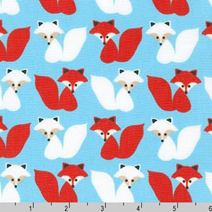 Woodland Pals Fox Red Blue Fabric