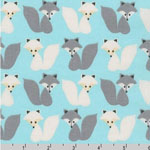 Woodland Pals Fox Gray Aqua Fabric