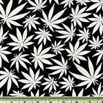 Glow in the Dark Cannabis Leaves Fabric Black