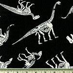 Glow in the Dark Dinosaur Fabric Black CG8334