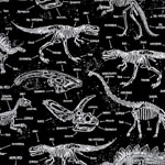 Glow in the Dark Dinosaur Skeletons Fabric