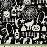 Glow in the Dark Halloween Motifs Fabric