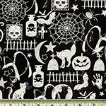 Glow in the Dark Halloween Motifs Fabric