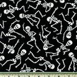 Glow in the Dark Dancing Skeletons Fabric Black