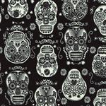 Glow in the Dark Folklore Skulls Fabric