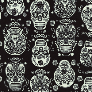 Glow in the Dark Folklore Skulls Fabric