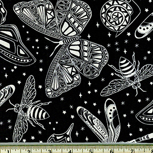 Glow in the Dark Insects in Space Black Fabric