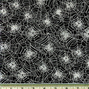 Glow in the Dark Halloween Webs Fabric Black