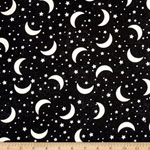 Glow in the Dark Crescent Moon and Star Fabric