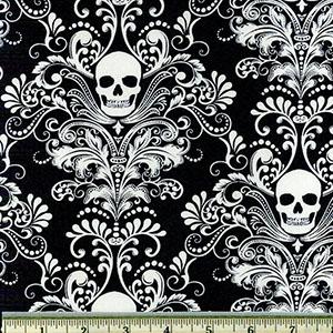 Glow in the Dark Skull Damask Negative Fabric