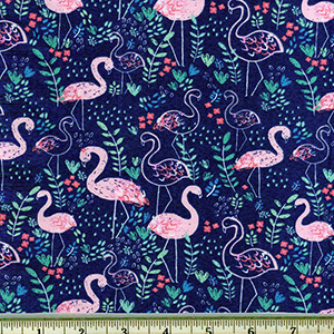 Flamingos on Navy Blue Jersey Knit Fabric