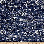 Chalkboard Jersey Knit Navy Fabric