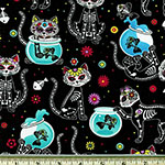 Cat Skeletons and Fishbowls Sugar Skulls Fabric