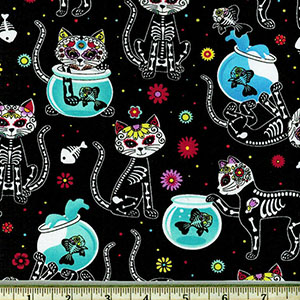 Cat Skeletons and Fishbowls Sugar Skulls Fabric