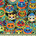 Bright Cat Sugar Skulls Fabric