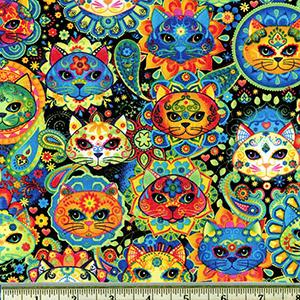 Bright Cat Sugar Skulls Fabric