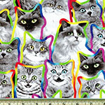 Neon Outline Black and White Cats Fabric