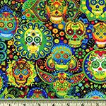 Bright Sugar Skulls Fabric