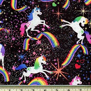 Glitter Unicorns in Space Fabric