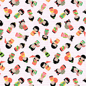 Cute Tossed Kokeshi Dolls Fabric
