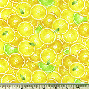 Packed Lemon Slices Yellow Fabric