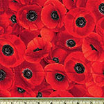 Packed Red Poppies Fabric