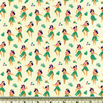 Hula Dancers on Ivory Fabric