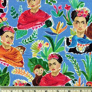 Viva Mexico! Frida Kahlo fabric blue