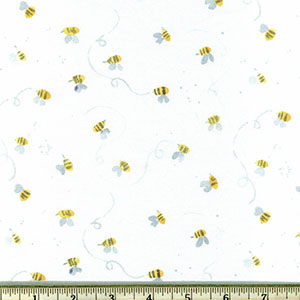 Busy Bee fabric white