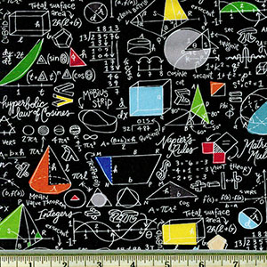 Mathematics Fabric Black